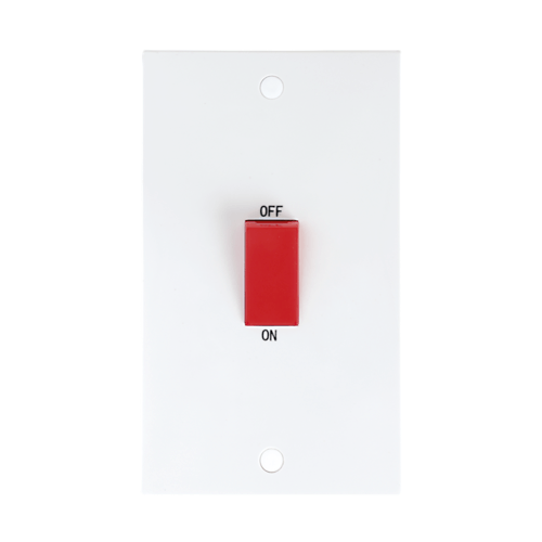 KnightsBridge 45A White 2G Double Pole 230V Electric Cooker Wall Plate Switch  - Click to view a larger image