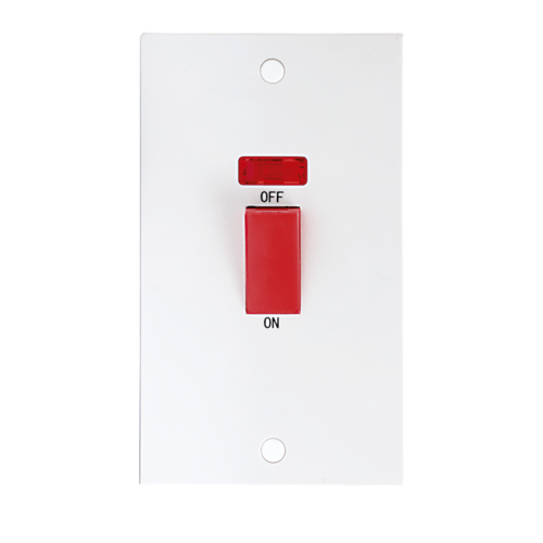 KnightsBridge 45A White 2G DP 230V Electric Cooker Wall Plate Switch With Neon  - Click to view a larger image