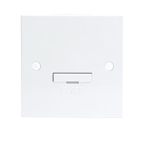 KnightsBridge 13A White Connection Unit 3 Amp Fused & Flex Outlet Electric Wall Plate  - Click to view a larger image