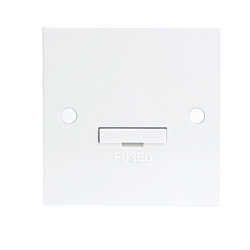 KnightsBridge 13A White Connection Unit Fused & Flex Outlet Electric Wall Plate  - Click to view a larger image