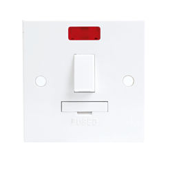 KnightsBridge 13A White Switched Connection Unit with Neon Fused & Flex Spur Electric Wall Plate