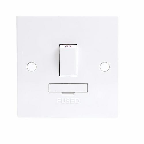 KnightsBridge 13A White Switched Connection Unit DP Fused & Flex Outlet Electric Wall Plate  - Click to view a larger image