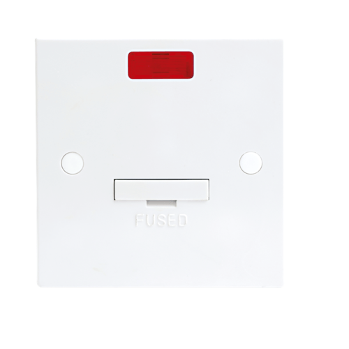 KnightsBridge 13A White Connection Unit with Neon Fused & Flex Outlet Electric Wall Plate  - Click to view a larger image