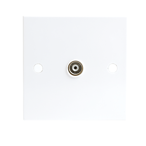 KnightsBridge White Coaxial TV Outlet Un-Isolated Single Wall Plate  - Click to view a larger image