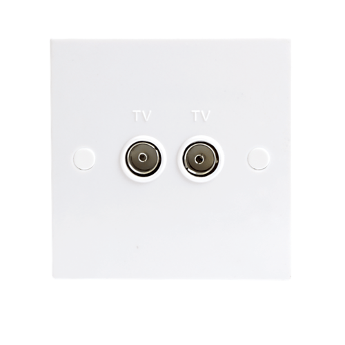 KnightsBridge White Twin Coaxial TV Outlet Un-Isolated Single Wall Plate  - Click to view a larger image