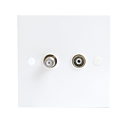 KnightsBridge White Twin Coaxial and Satellite TV Outlet Isolated Single Wall Plate  - Click to view a larger image