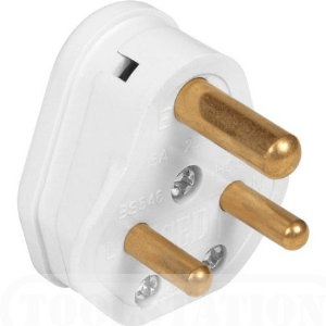 Zexum 2A White Plastic Electrical Round Pin Plug Top Unfused