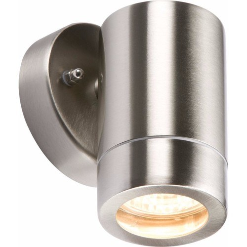 KnightsBridge Fixed IP65 Lightweight Stainless Steel Indoor Outdoor Single Wall Light  - Click to view a larger image