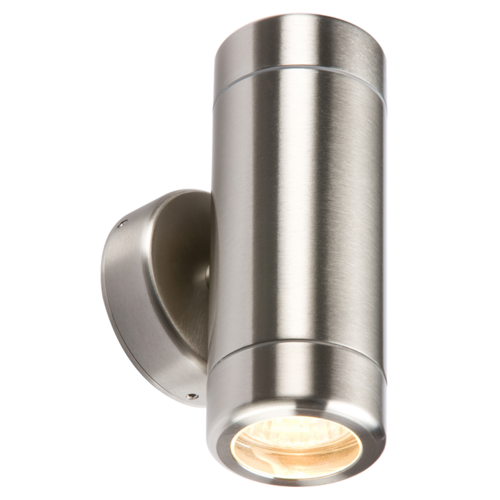 KnightsBridge Fixed IP65 Stainless Steel Indoor Outdoor Double Wall Light  - Click to view a larger image