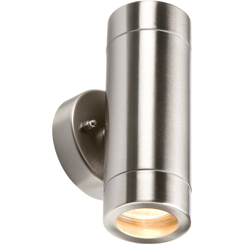 KnightsBridge Fixed IP65 Lightweight Stainless Steel Indoor Outdoor Double Wall Light  - Click to view a larger image