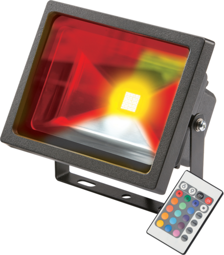 KnightsBridge IP65 Adjustable Low Energy LED Security RGB FloodLight Black Aluminium  - Click to view a larger image