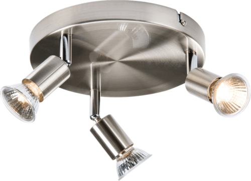 KnightsBridge Ceiling Light GU10 50 Watt 3 Spotlight Bar Brushed Chrome LED Compatible  - Click to view a larger image