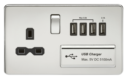 KnightsBridge 2G 13A Screwless Polished Chrome 1G Switched Socket with Quad 5V USB Charger Ports  - Click to view a larger image