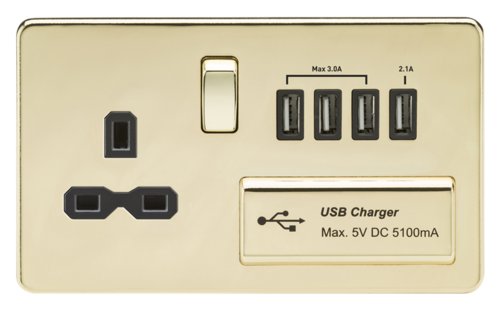 KnightsBridge 2G 13A Screwless Polished Brass 1G Switched Socket with Quad 5V USB Charger Ports KnightsBridge 2G 13A Screwless Polished Brass 1G Switched Socket with Quad 5V USB Charger Ports  - Click to view a larger image