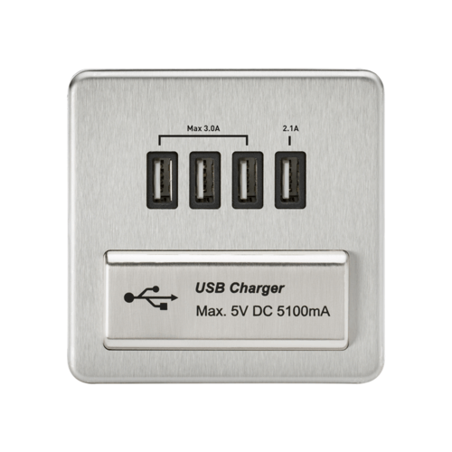 KnightsBridge 1G Screwless Brushed Chrome Quad USB 5V Charger Outlet  - Click to view a larger image