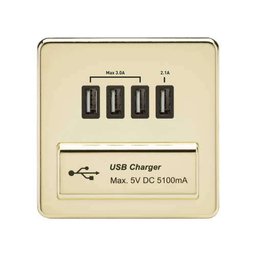 KnightsBridge 1G Screwless Polished Brass Quad USB 5V Charger Outlet  - Click to view a larger image