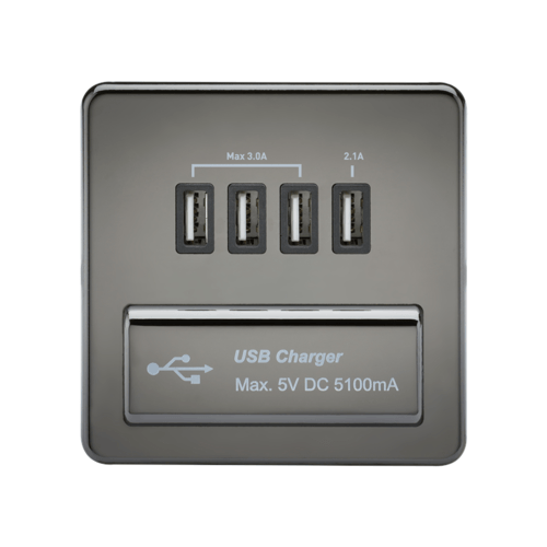 KnightsBridge 1G Screwless Black Nickel Quad USB 5V Charger Outlet  - Click to view a larger image