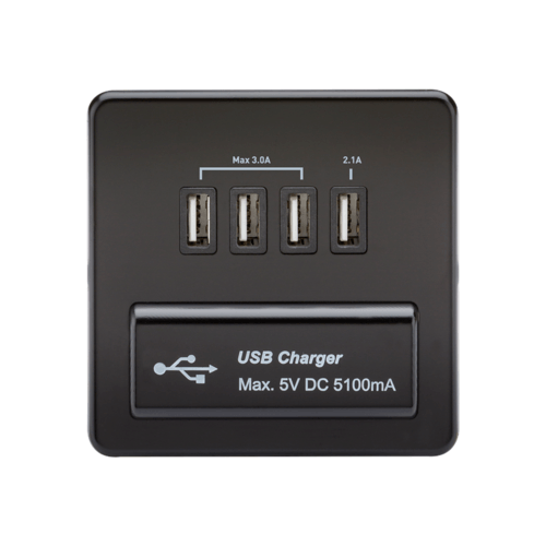 KnightsBridge 1G Screwless Matt Black Quad USB 5V Charger Outlet