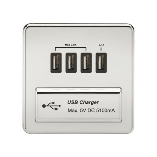 KnightsBridge 1G Screwless Polished Chrome Quad USB 5V Charger Outlet  - Click to view a larger image