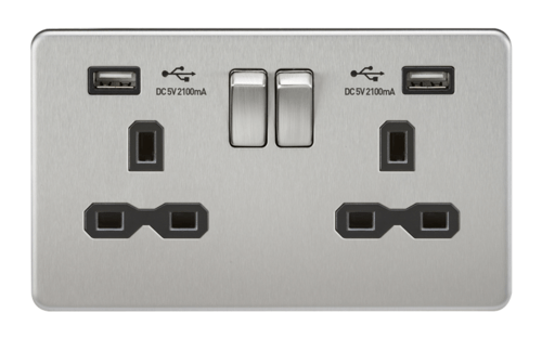 KnightsBridge 2G 13A Screwless Brushed Chrome 2G Switched Socket with Dual 5V USB Charger Ports KnightsBridge 2G 13A Screwless Brushed Chrome 2G Switched Socket with Dual 5V USB Charger Ports  - Click to view a larger image