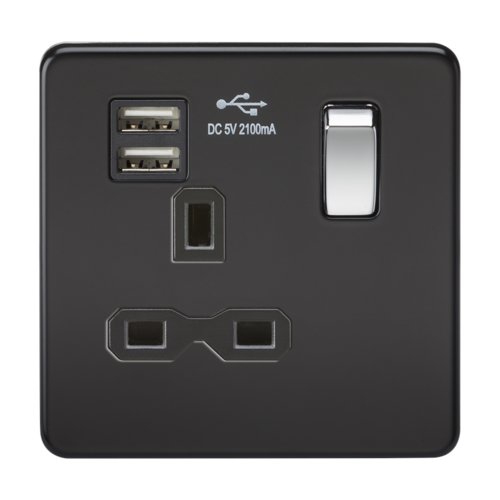 KnightsBridge 1G 13A Screwless Matt Black 1G Switched Socket with Dual 5V USB Charger Ports  - Click to view a larger image