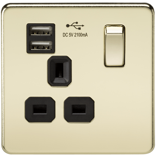 KnightsBridge 1G 13A Screwless Polished Brass 1G Switched Socket with Dual 5V USB Charger Ports  - Click to view a larger image