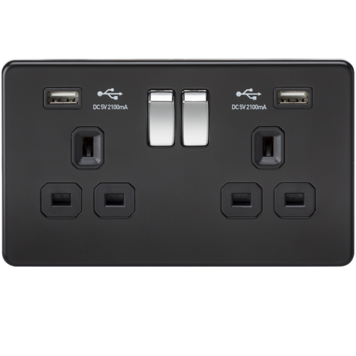 KnightsBridge 2G 13A Matt Black 2G Switched Socket with Dual 5V USB Charger Ports  - Click to view a larger image