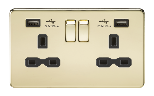 KnightsBridge 2G 13A Screwless Polished Brass 2G Switched Socket with Dual 5V USB Charger Ports KnightsBridge 2G 13A Screwless Polished Brass 2G Switched Socket with Dual 5V USB Charger Ports  - Click to view a larger image