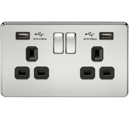 KnightsBridge 2G 13A Screwless Polished Chrome 2G Switched Socket with Dual 5V USB Charger Ports  - Click to view a larger image