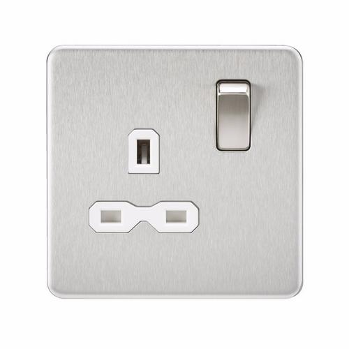 KnightsBridge 1G 13A Screwless Brushed Chrome 230V UK 3 Pin Switched Electrical Wall Socket  - Click to view a larger image