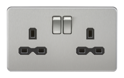 KnightsBridge 2G DP 13A Screwless Brushed Chrome 230V UK 3 Pin Switched Electric Wall Socket KnightsBridge 2G DP 13A Screwless Brushed Chrome 230V UK 3 Pin Switched Electric Wall Socket  - Click to view a larger image