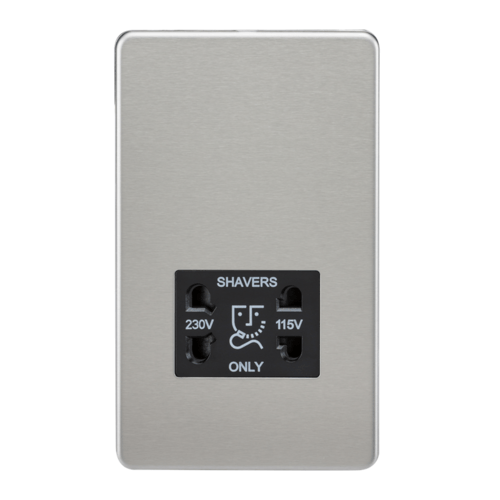 KnightsBridge Screwless Brushed Chrome Shaver Socket Dual Voltage 115/230V KnightsBridge Screwless Brushed Chrome Shaver Socket Dual Voltage 115230V - Click to view a larger image