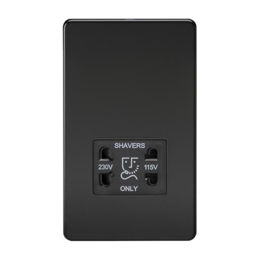 KnightsBridge Screwless Matt Black Shaver Socket Dual Voltage 115/230V  - Click to view a larger image