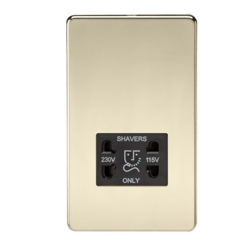 KnightsBridge Screwless Polished Brass Shaver Socket Dual Voltage 115/230V  - Click to view a larger image