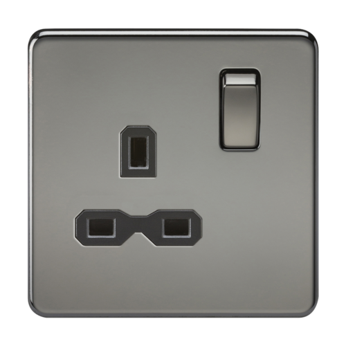 KnightsBridge 1G DP 13A Screwless Black Nickel 230V UK 3 Pin Switched Electrical Wall Socket  - Click to view a larger image