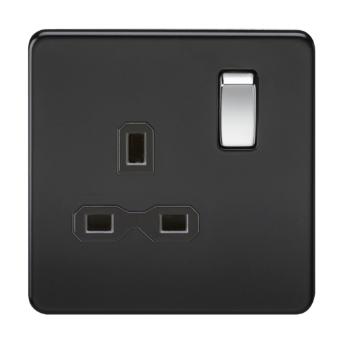 KnightsBridge 1G DP 13A Screwless Matt Black 230V UK 3 Pin Switched Electrical Wall Socket KnightsBridge 1G DP 13A Screwless Matt Black 230V UK 3 Pin Switched Electrical Wall Socket  - Click to view a larger image