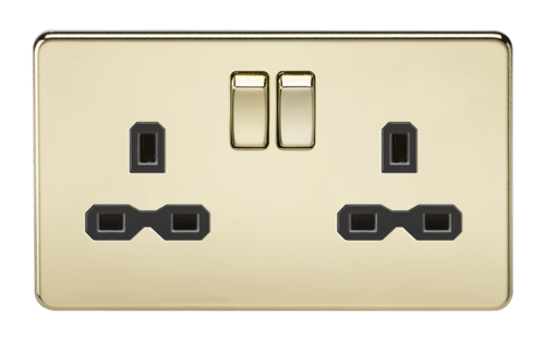 KnightsBridge 2G DP 13A Screwless Polished Brass 230V UK 3 Pin Switched Electric Wall Socket  - Click to view a larger image