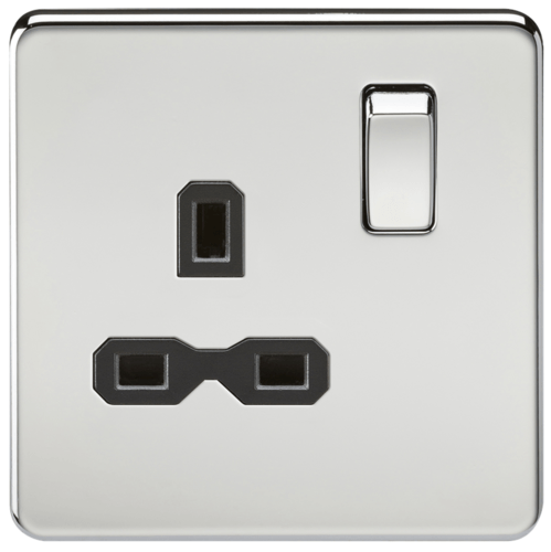 KnightsBridge 1G DP 13A Screwless Polished Chrome 230V UK 3 Pin Switched Electrical Wall Socket KnightsBridge 1G DP 13A Screwless Polished Chrome 230V UK 3 Pin Switched Electrical Wall Socket  - Click to view a larger image
