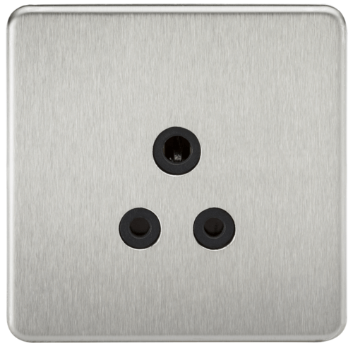 KnightsBridge 1G 5A Screwless Brushed Chrome Round Pin 230V Unswitched Electrical Wall Socket  - Click to view a larger image