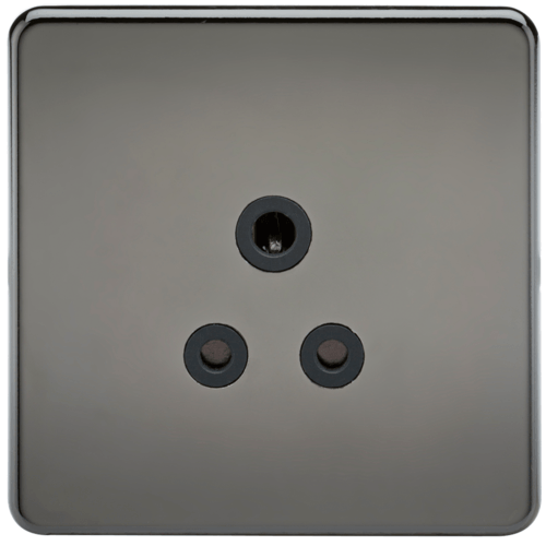 KnightsBridge 1G 5A Screwless Black Nickel Round Pin 230V Unswitched Electrical Wall Socket  - Click to view a larger image