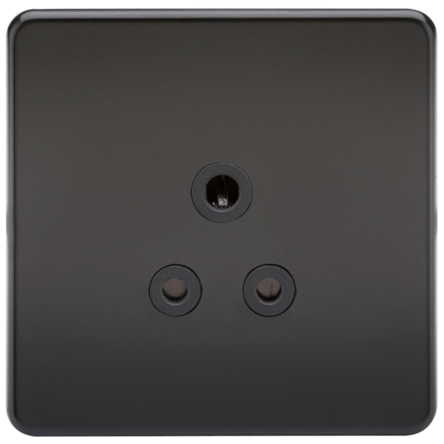 KnightsBridge 1G 5A Screwless Matt Black Round Pin 230V Unswitched Electrical Wall Socket  - Click to view a larger image