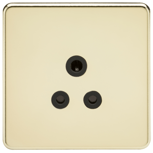 KnightsBridge 1G 5A Screwless Polished Brass Round Pin 230V Unswitched Electrical Wall Socket  - Click to view a larger image