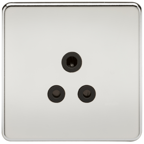 KnightsBridge 1G 5A Screwless Polished Chrome Round Pin 230V Unswitched Electrical Wall Socket  - Click to view a larger image