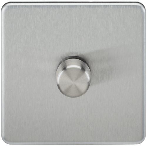 KnightsBridge 10-200W 1G 2 Way Screwless Brushed Chrome 230V Electric Led Compatible Dimmer Switch