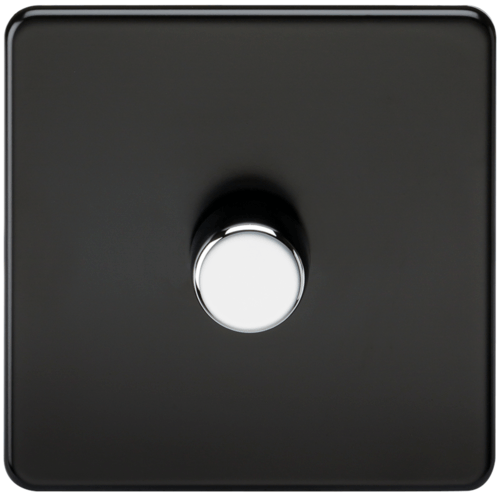 KnightsBridge 10-200W 1G 2 Way 230V Screwless Matt Black Led compatible Electric Dimmer Switch  - Click to view a larger image