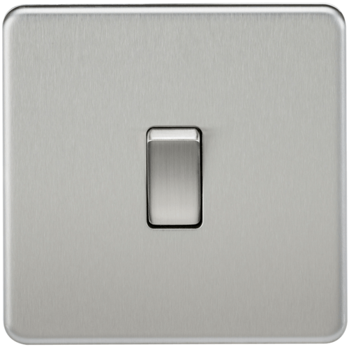 KnightsBridge 10A 1G 2 Way 230V Screwless Brushed Chrome Electric Wall Plate Switch