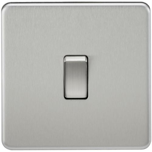 KnightsBridge 10A 1G 2 Way 230V Screwless Brushed Chrome Electric Wall Plate Switch