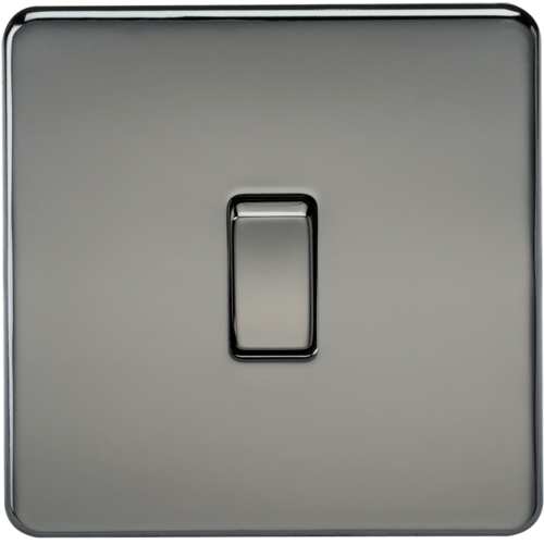 KnightsBridge 10A 1G 2 Way 230V Screwless Black Nickel Electric Wall Plate Switch