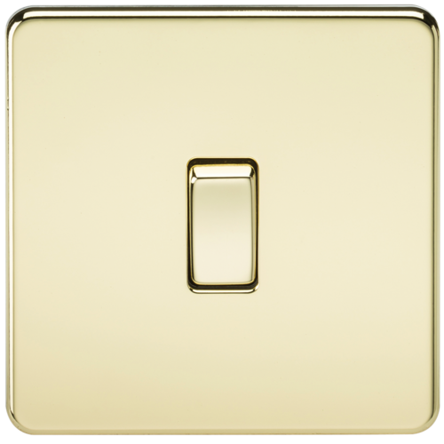 KnightsBridge 10A 1G 2 Way 230V Screwless Polished Brass Electric Wall Plate Switch