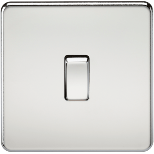 KnightsBridge 10A 1G 2 Way 230V Screwless Polished Chrome Electric Wall Plate Switch  - Click to view a larger image